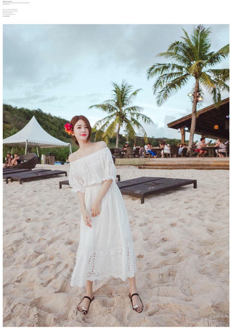 เดรสสีขาว สไตล์ปาดไหล่ งานสวยลายฉลุหวานน่ารักมากกกกก ถ่าย pre-wed ถ่ายชิวทะเลได้เลยจ้า แบบสวม เอวสมอค