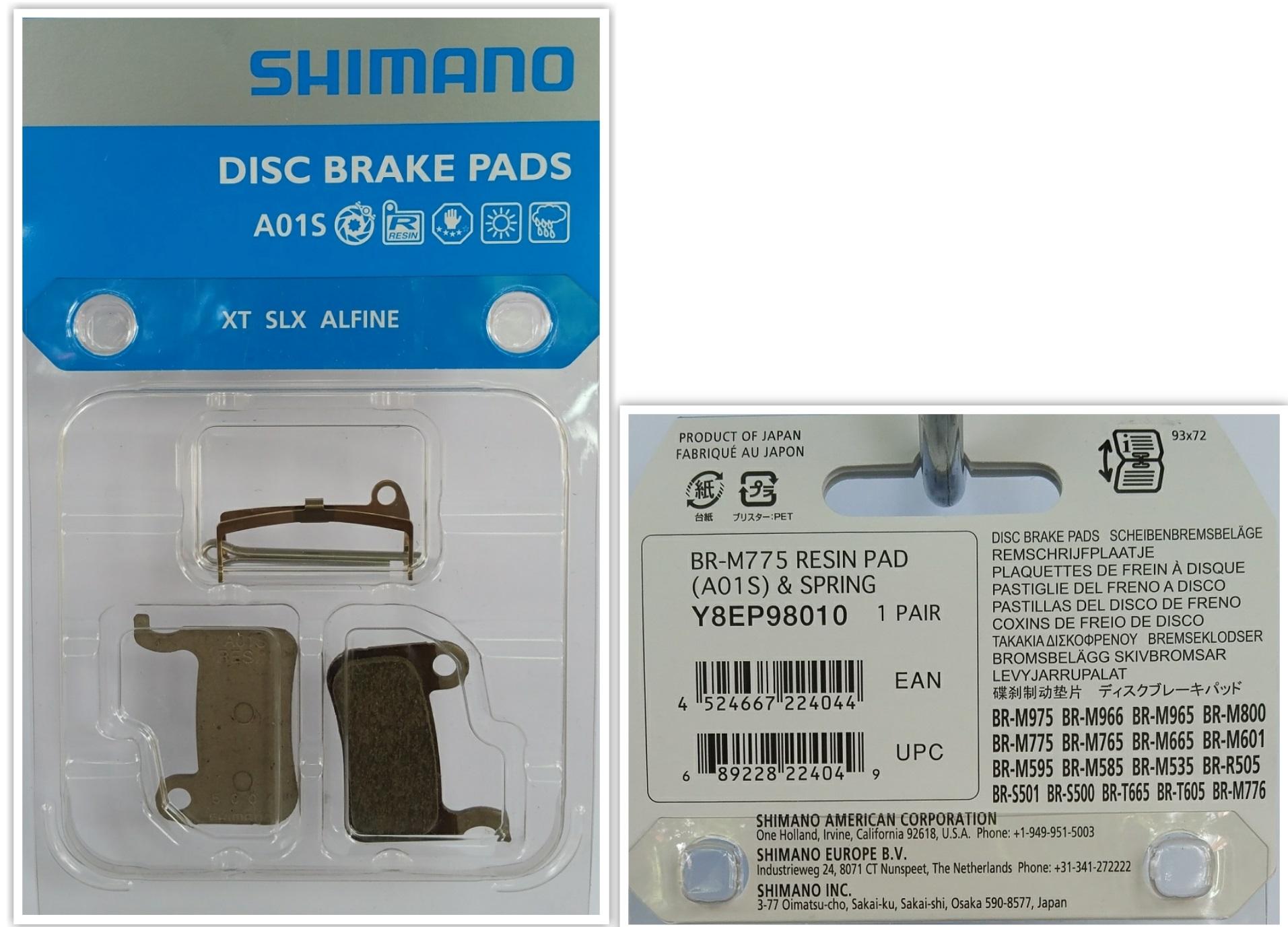 ผ้าเบรค Shimano XT BR-M775 Resin Pad A01S