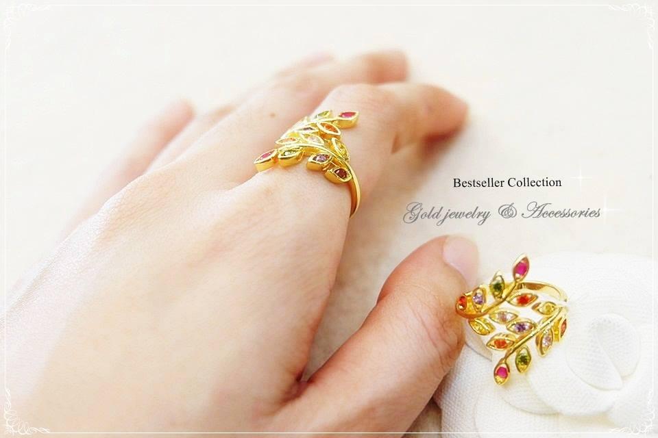 แหวนใบมะกอกพลอยนพเก้า