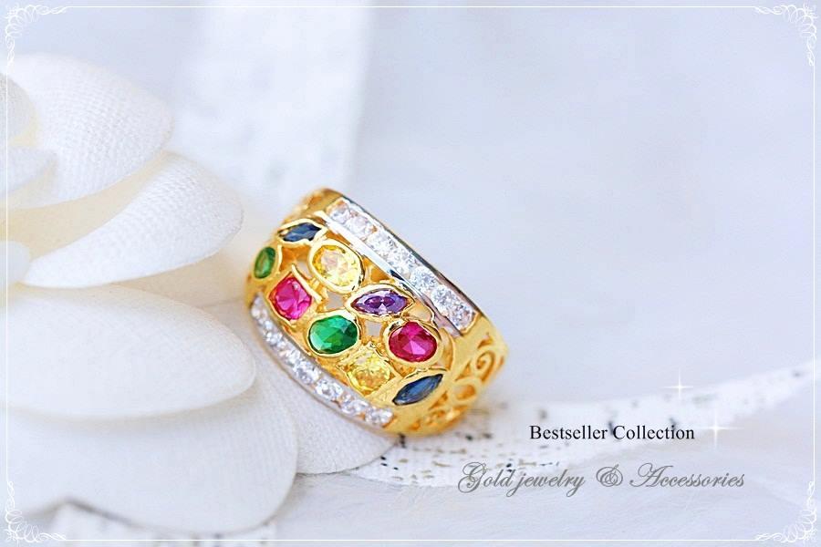 แหวนพลอยนพเก้า หุ้มทองคำแท้ประดับเพชร CZ