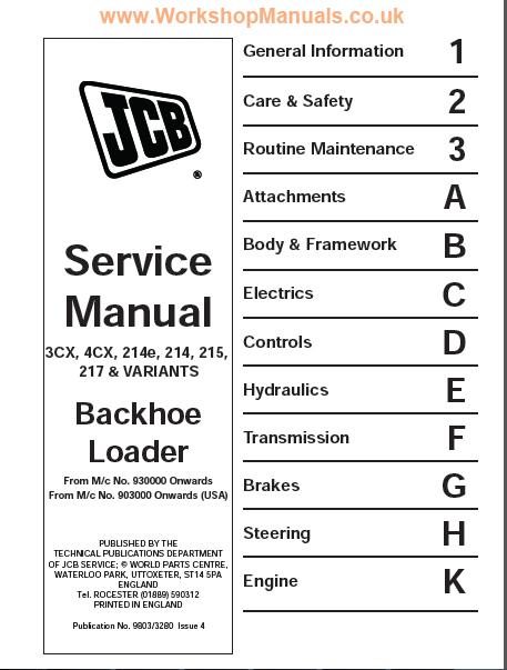 หนังสือ คู่มือซ่อม วงจรไฟฟ้า วงจรไฮดรอลิก จักรกลหนัก JCB Backhoe Loader (ทั้งคัน) EN