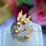 แหวนมังกรล้อมเพชรcz หุ้มทองคำแท้ (2)