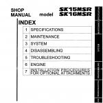 หนังสือ คู่มือซ่อม Kobelco Hydraulic Excavator SK15MSR , SK16MSR (ข้อมูลทั่วไป ค่าสเปคต่างๆ วงจรไฟฟ้า วงจรไฮดรอลิกส์)