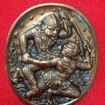 เหรียญหนุมาน ชินบัญชร เนื้อมหาชนวนผิวรุ้ง หลวงพ่อฟู วัดบางสมัคร