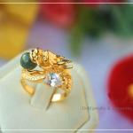 แหวนมังกรคาบหยก หุ้มทองคำแท้