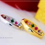 แหวนพูนทรัพย์พลอยนพเก้า หุ้มทองคำแท้