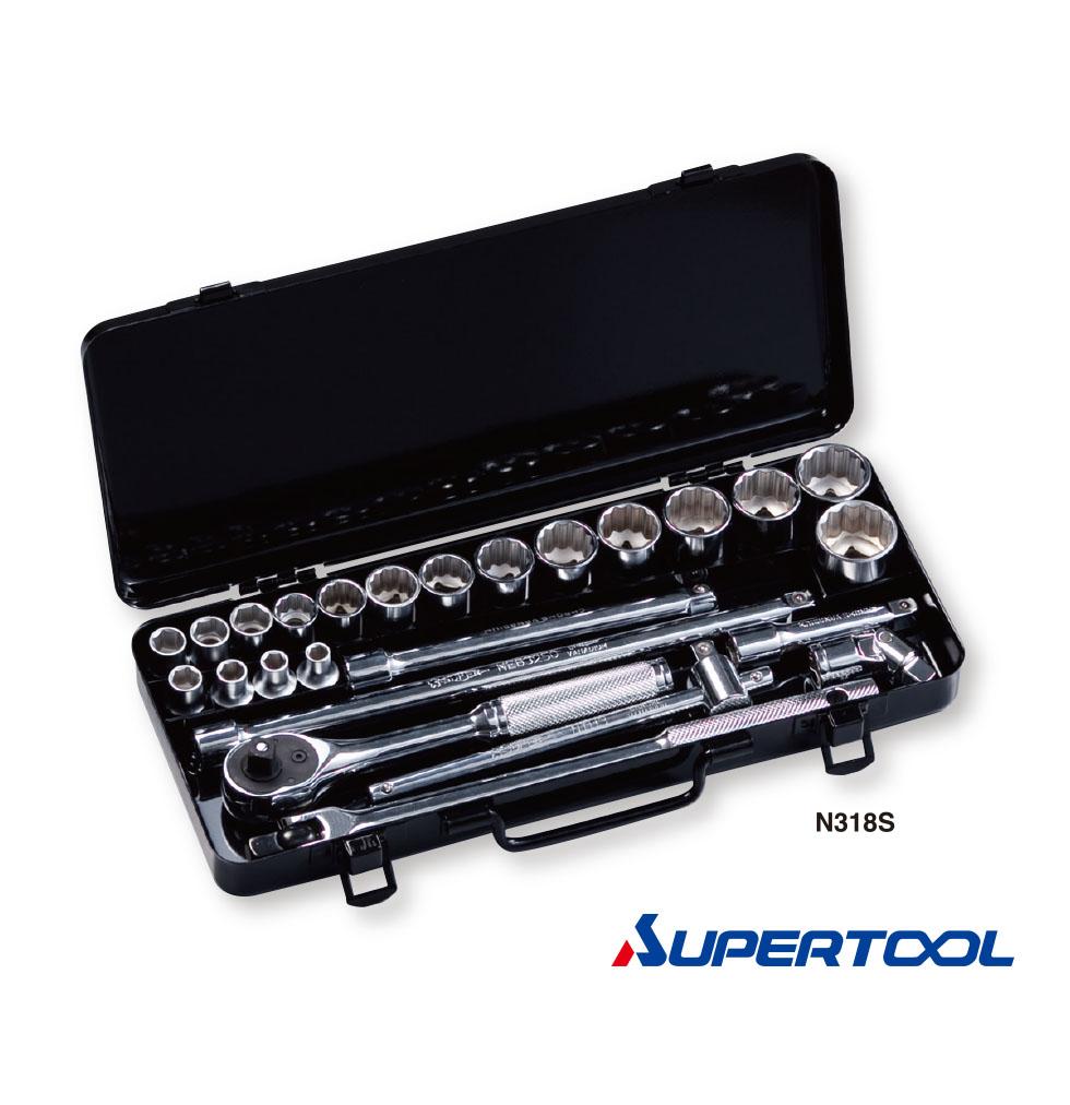 """ประแจบล็อกชุด รู3/8""""นิ้ว (9.5mm) 25ชิ้น - Socket Wrench Set [Supertool]"""