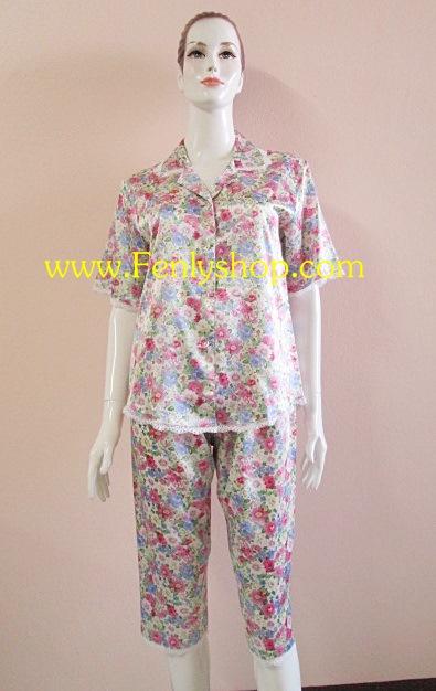 ชุดนอนไซส์ใหญ่(ญ)กางเกงขาสามส่วน ผ้าซาตินเกรด เอ ลายดอกสวยๆ น่ารัก เสื้อรอบอก 46 นิ้ว