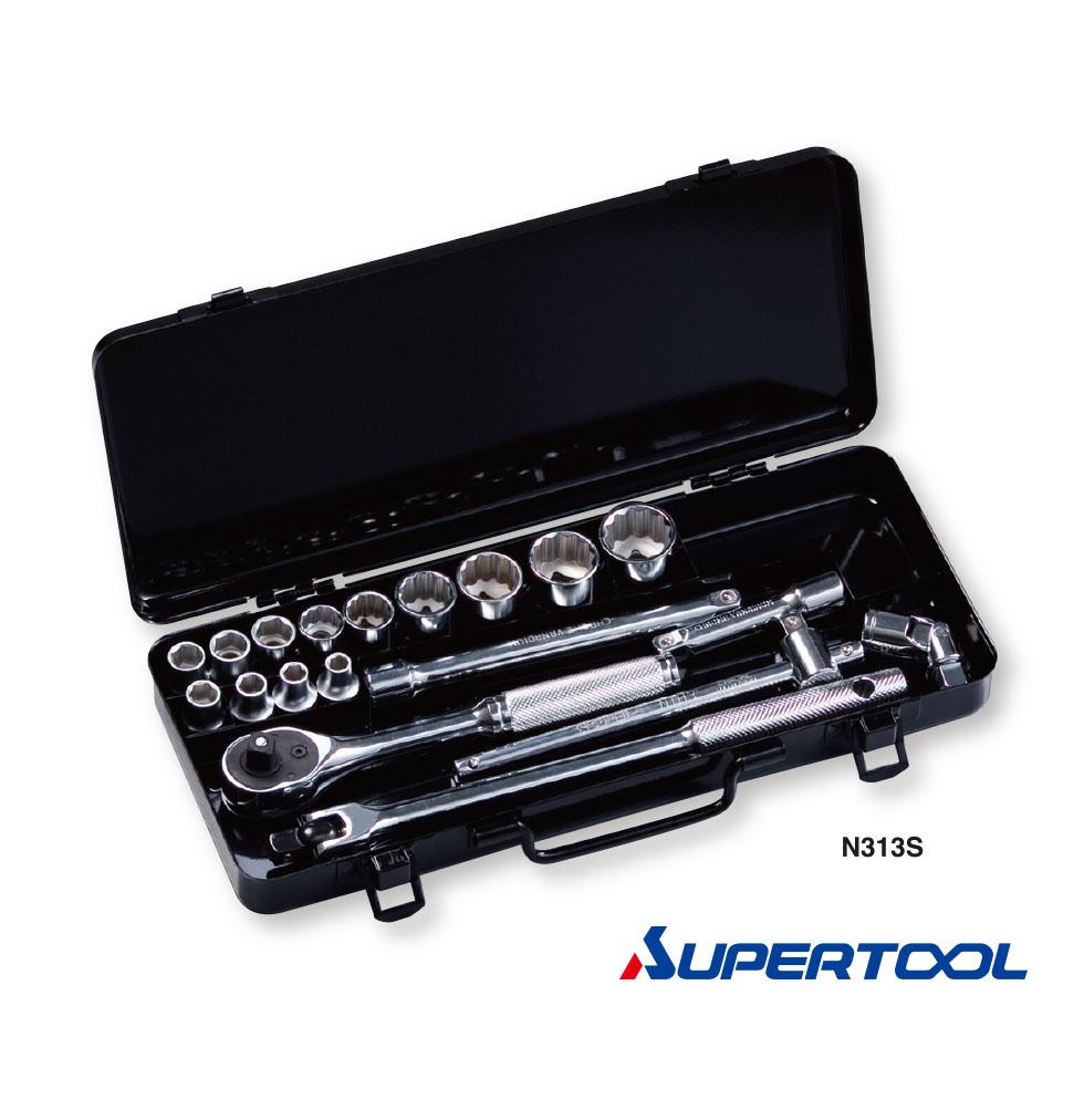 """ประแจบล็อกชุด รู3/8"""" นิ้ว (9.5mm) 19ชิ้น / Socket Wrench Set [Supertool]"""