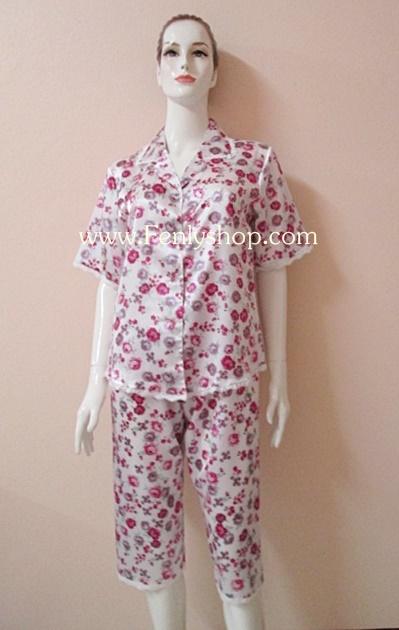 ชุดนอนไซส์ใหญ่(ญ)กางเกงขาสามส่วน ผ้าซาตินเกรด เอ ลายดอกสีม่วงสวยๆ น่ารัก เสื้อรอบอก 46 นิ้ว