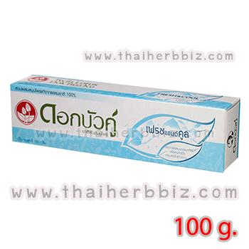 ยาสีฟันดอกบัวคู่ สูตรเฟรชแอนด์คูล (กล่องสีฟ้า 100 กรัม)