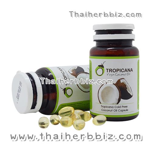 น้ำมันมะพร้าวสกัดเย็นทรอปิคานา ชนิดแคปซูล 60 แคปซูล Tropicana Virgin Coconut Oil