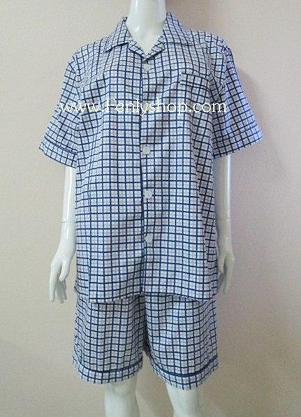 ชุดนอน(ช)กางเกงขาสั้น ผ้า Cotton เกรด เอ แบบลายสก็อตสีน้ำเงิน คอปก ขนาดใหญ่ไซส์ XXL