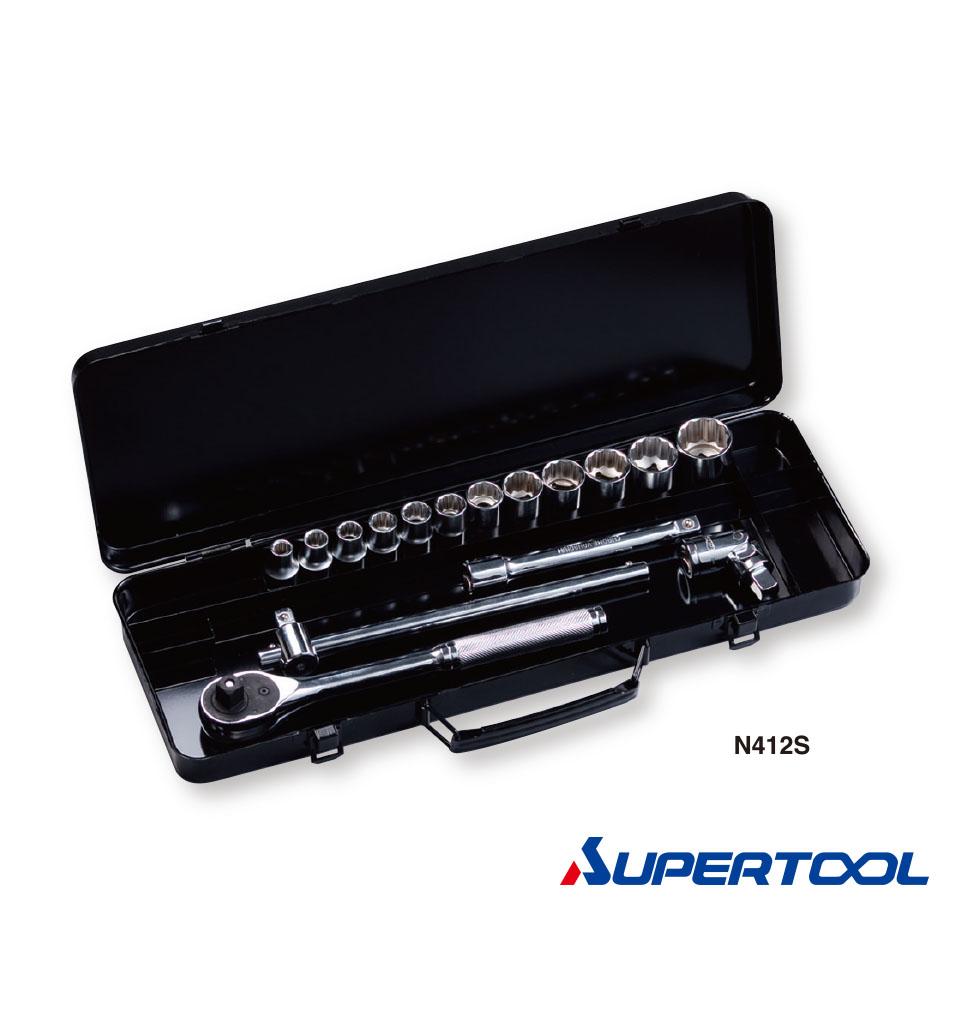 """ประแจบล็อกชุด รู1/2"""" นิ้ว (12.7mm) 16ชิ้น / Socket Wrench Set [Supertool]"""